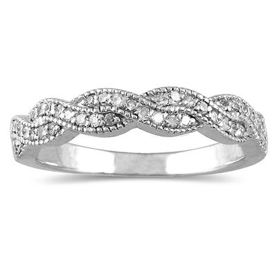 1/3 Carat TW Braided Diamond Wedding Band in 10K White Gold
