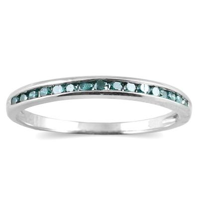 1/3 CTW Blue Diamond Ring in .925 Sterling Silver