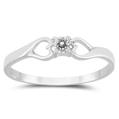 AGS Certified 1/10 Carat TW Diamond Heart Promise Ring in 10K White Gold