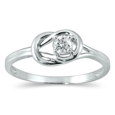 1/6 Carat Diamond Love Knot Solitaire Ring in 10K White Gold