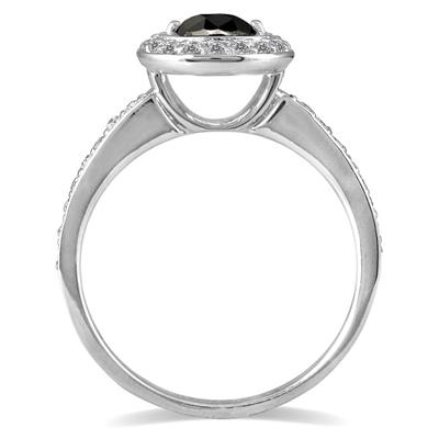 3/4 Carat TW Black and White Diamond Ring in 14K White Gold