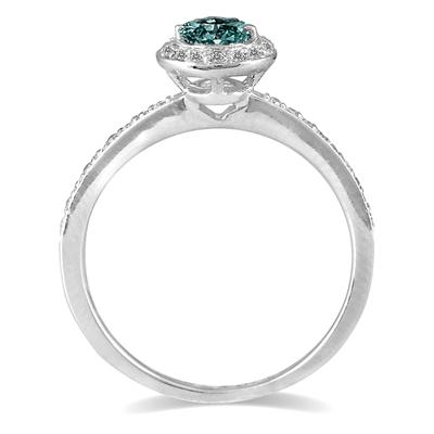 1/2 Carat Blue and White Diamond Ring in 14K White Gold