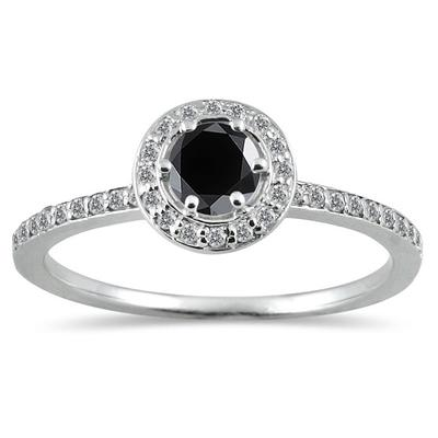 1/2 Carat TW Black and White Diamond Ring in 14K White Gold