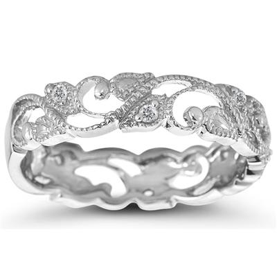 1/10 Carat TW Diamond Leaf Ring in 10K White Gold