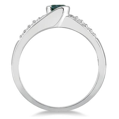 2/5 Carat TW Blue and White Diamond Ring in 10K White Gold