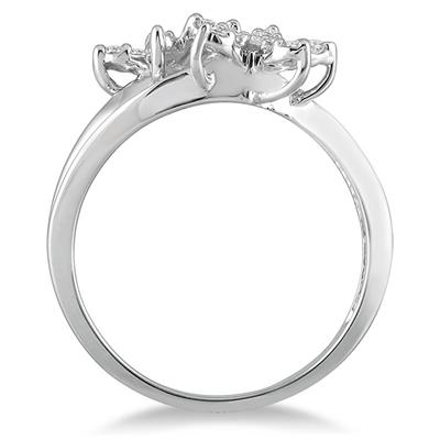 1/4 Carat TW Diamond Double Flower Ring in 10K White Gold