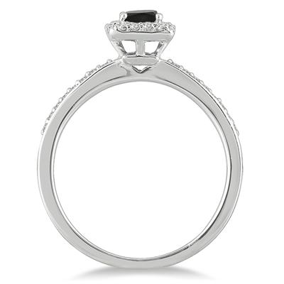 Black and White Diamond Ring in 10K White Gold