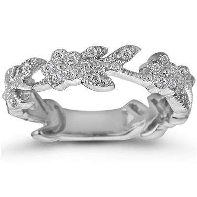 1/3 Carat Diamond Leaf Ring in 10K White Gold