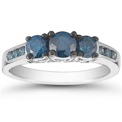 1 1/10 Carat TW Blue Diamond Three Stone Ring in 10K White Gold