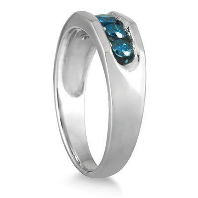 1/2 Carat 5 Stone Blue Diamond Ring in 10K White Gold