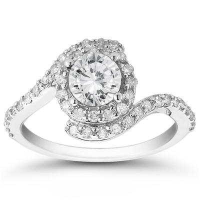 AGS Certified 1 3/8 Carat TW White Diamond Ring in 10K White Gold (J-K Color, I2-I3 Clarity)