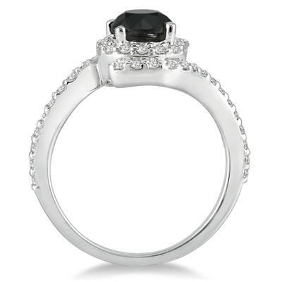 1 1/2 Carat Black and White Diamond Ring in 10K White Gold