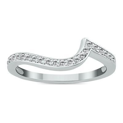 1/5 Carat TW Carat Diamond Curved Wedding Band in 14K White Gold