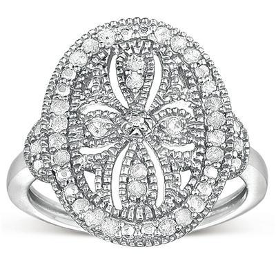 1/3 Carat Genuine Diamond Antique Filigree Ring in .925 Sterling Silver