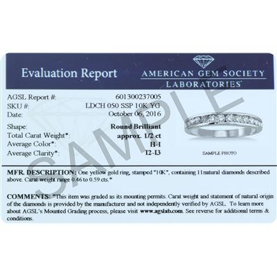 AGS Certified 1/2 Carat TW Channel Set Diamond Band in 10K White Gold