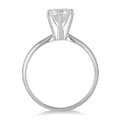 AGS Certified 1 Carat Diamond Solitaire Ring in 14K White Gold (I-J Color, I2-I3 Clarity)