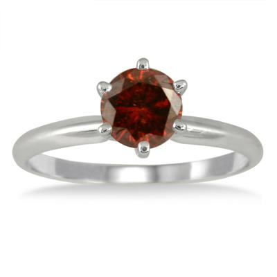 1 Carat Cognac Diamond Solitaire Ring in 14K White Gold