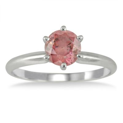 1 Carat Pink Diamond Solitaire Ring in 14K White Gold