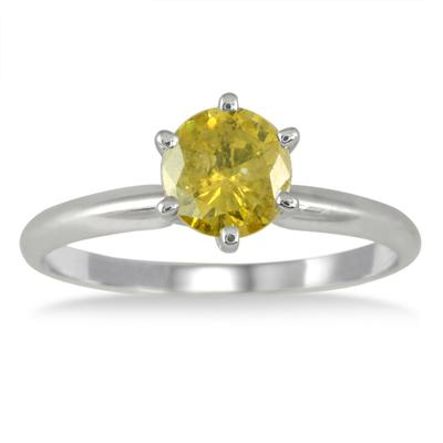 1 Carat Yellow Diamond Solitaire Ring in 14K White Gold