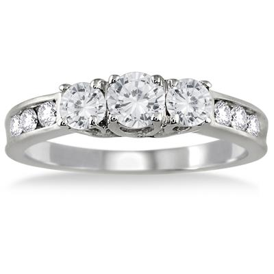 1 Carat TW Diamond Three Stone Ring in 10K White Gold