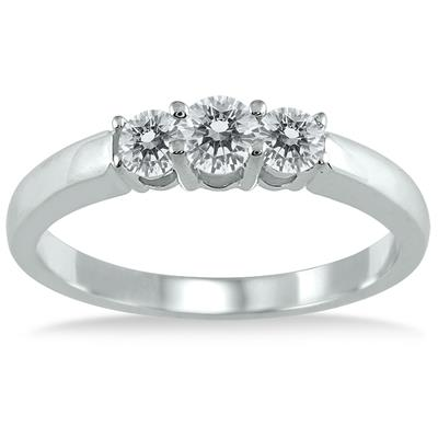 AGS Certified 1/2 Carat TW Three Stone Diamond Ring in 10K White Gold