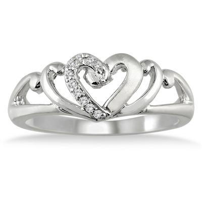 Diamond Heart Ring in .925 Sterling Silver
