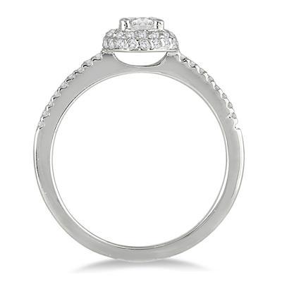 3/5 Carat TW Diamond Halo Engagement Ring in 10K White Gold