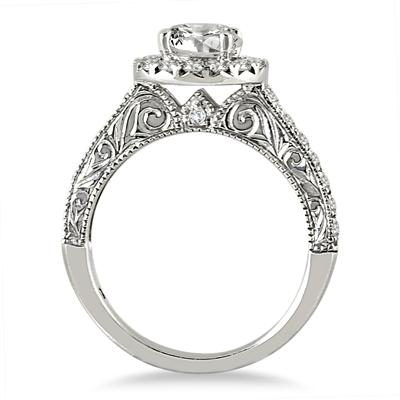 AGS Certified 1 1/2 Carat TW Halo Diamond Engagement Ring in 14K White Gold (J-K Color, I2-I3 Clarity)