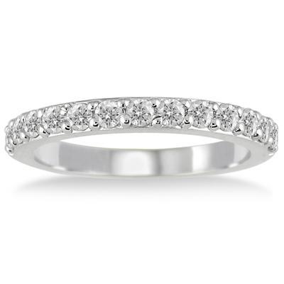 1/2 Carat Diamond Wedding Band in 14K White Gold