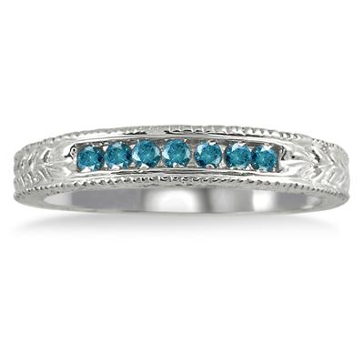 1/6 Carat 7 Stone Blue Diamond Engraved Ring in .925 Sterling Silver
