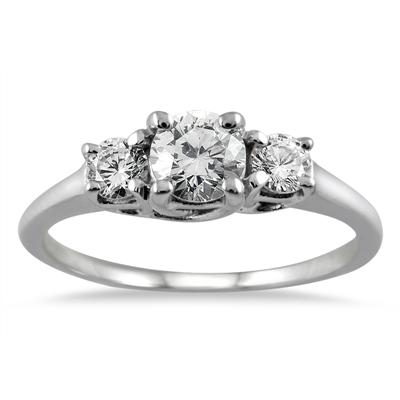 1 Carat TW Three Stone Diamond Ring in 14K White Gold