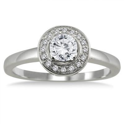 1/2 Carat TW Diamond Halo Engagement Ring in 10K White Gold