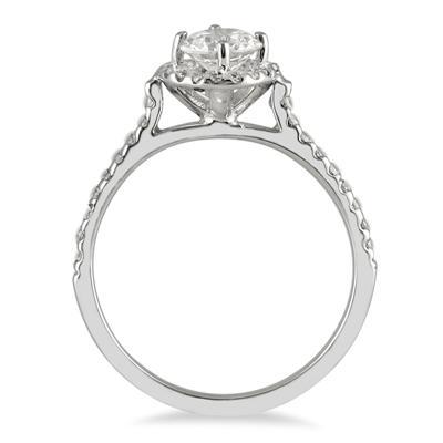 3/4 Carat TW Diamond Halo Engagement Ring in 10K White Gold