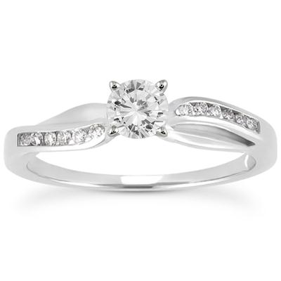AGS Certified 1/2 Carat TW Diamond Engagement Ring in 10k White Gold