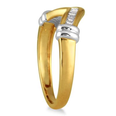 1/7 Carat T.W Two Tone Baguette Ring in 10K Gold