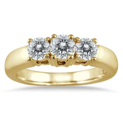 AGS Certified 1 Carat TW Three Stone Diamond Ring in 10K Yellow Gold
