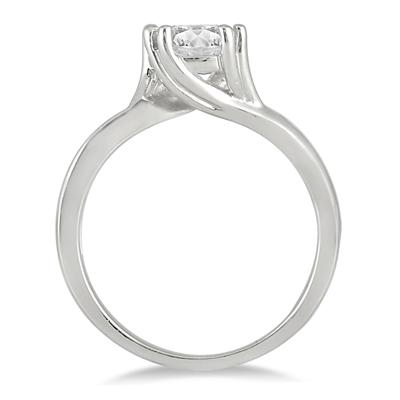 AGS Certified 1 Carat Diamond Solitaire Engagement Ring in 14K White Gold (J-K Color, I2-I3 Clarity)