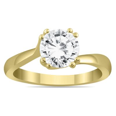 AGS Certified 1 Carat Diamond Solitaire Engagement Ring in 14K Yellow Gold (J-K Color, I2-I3 Clarity)