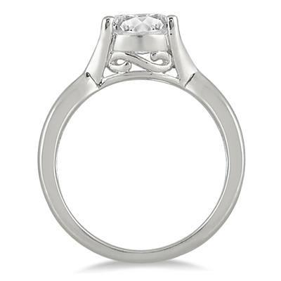1/2 Carat Diamond Solitaire Ring in 14K White Gold