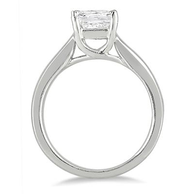 1 Carat Princess Cut Diamond Solitaire Ring in 14K White Gold