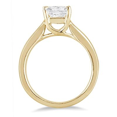 1 Carat Princess Cut Diamond Solitaire Ring in 14K Yellow Gold