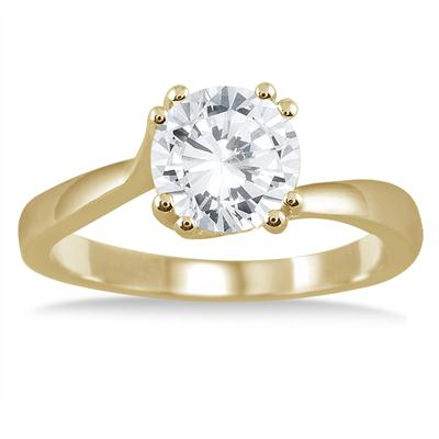 AGS Certified 1 Carat Diamond Solitaire Engagement Ring in 14K Yellow Gold (H-I Color, I1-I2 Clarity)