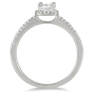 1/2 Carat Princess Cut Diamond Engagement Ring in 10K White Gold