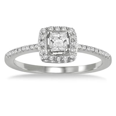 1/2 Carat TW Princess Halo Engagement Ring in 10K White Gold