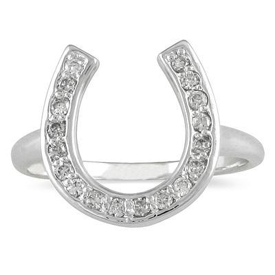 1/4 Carat Diamond Horseshoe Ring in .925 Sterling Silver