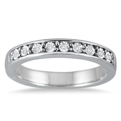 9 Stone Diamond Band in .925 Sterling Silver