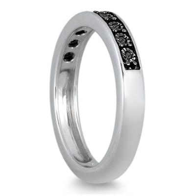Illusion Plate Set Black Diamond Ring in .925 Sterling Silver