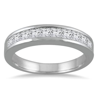 1 Carat TW Channel Set Princess Diamond Band in 14K White Gold