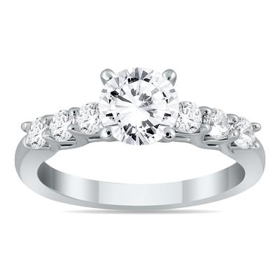 AGS Certified 1 2/5 Carat TW Seven Stone Engagement Ring in 14K White Gold (J-K Color, I2-I3 Clarity)