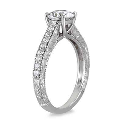AGS Certified 1 Carat TW Diamond Ring in 14K White Gold (J-K Color, I2-I3 Clarity)